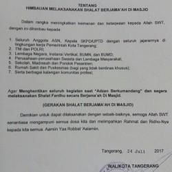 Kota Tangerang Buat Edaran Salat Berjamaah di Masjid