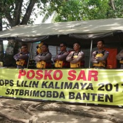 Ratusan Personil Brimobda Banten Disebar Dilokasi Pantai
