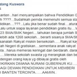 Mantan Kadindikbud Banten Kritik Gubernur WH Soal Pendidikan Gratis