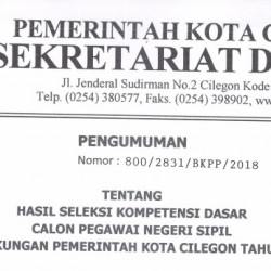 Pengumuman Hasil Seleksi Kompetensi Dasar CPNS Pemkot Cilegon 2018